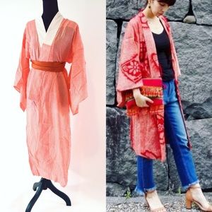 Vintage orange with shiburi print kimono 👘